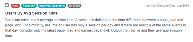Facebook SQL data scientist interview question for avg session time