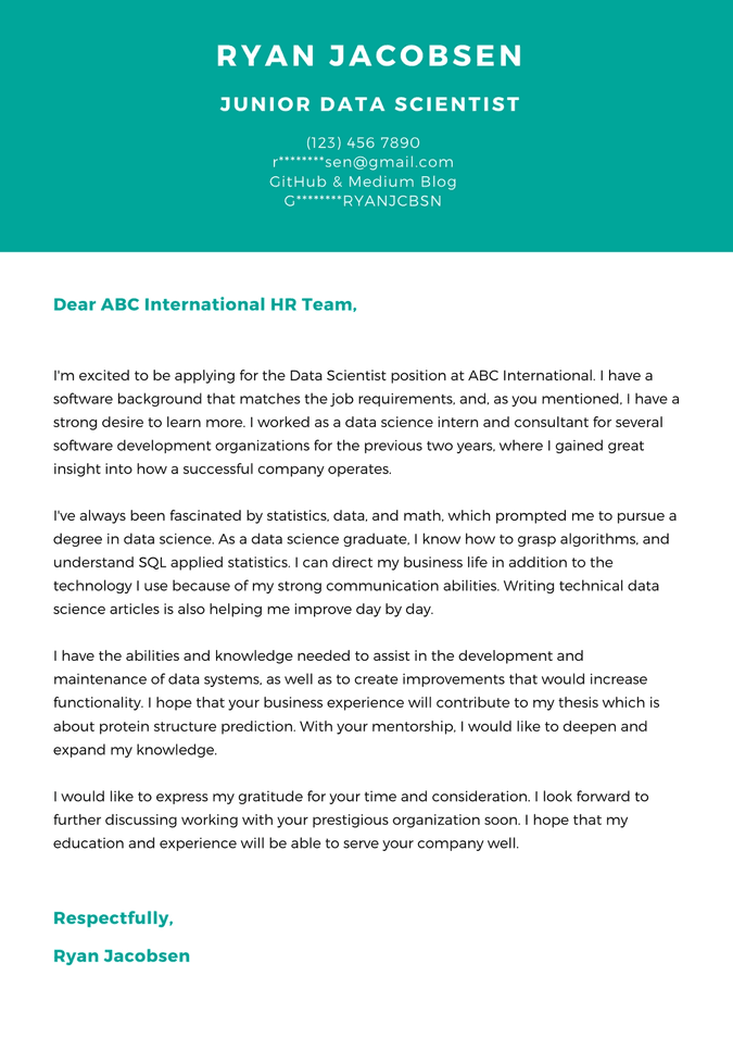 data science cover letter example