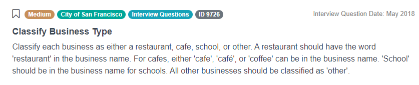 Python Interview Questions for Classify Business Type