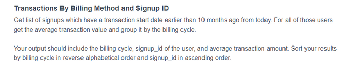 Fourth Noom Interview Question for Transactions By Billing Method and Signup ID