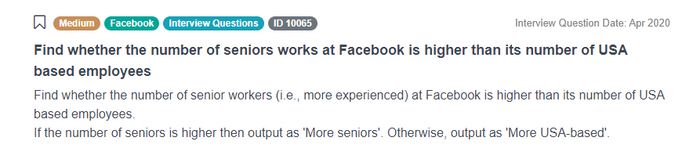 Find whether the number of seniors works at Facebook