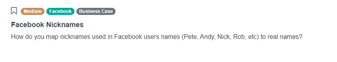Facebook Nicknames Data Scientist Interview Question