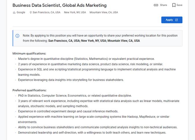 Google Business Data Scientist