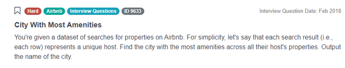 Airbnb Data Scientist Interview Question for City With Most Amenities