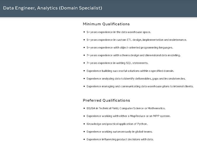 Facebook Data Engineer Analytics Domain Specialist Position
