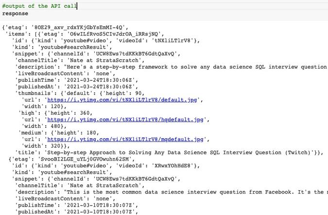 Response From Making API Call