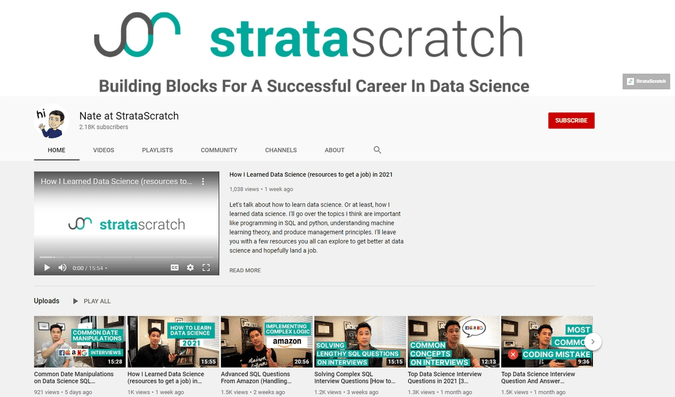 stratascratch youtube channel for data science questions