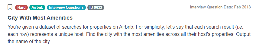 Python Interview Questions for City With Most Amenities