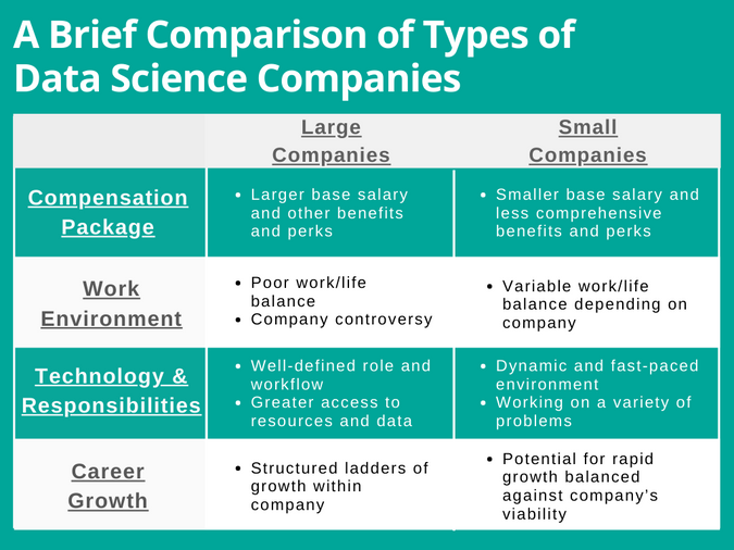 A Brief Comparison of Types of data science companies