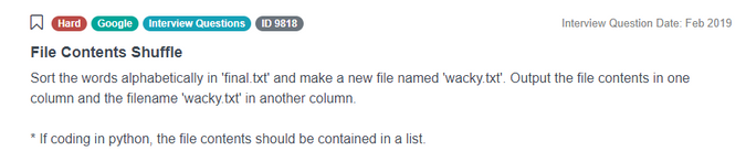 Google Data Scientist Interview Question for File Contents Shuffle