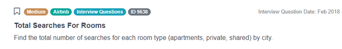 Airbnb Data Scientist Interview Question for Total Searches For Rooms