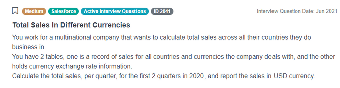 Salesforce Data Scientist Interview Question for Total Sales In Different Currencies