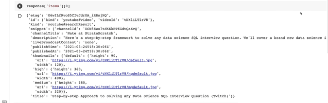isolate one video using python api for data science