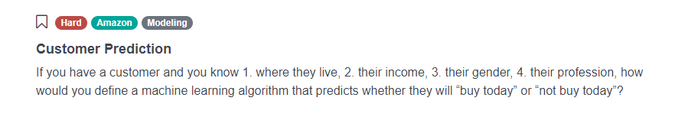 Amazon Data Science Interview Question for Customer Prediction