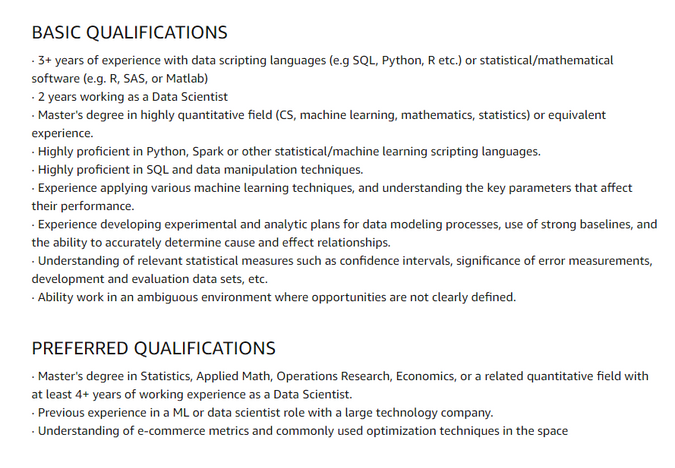 Qualifications for Data Scientist