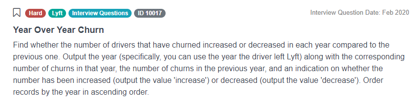 Python Interview Questions for Year Over Year Churn