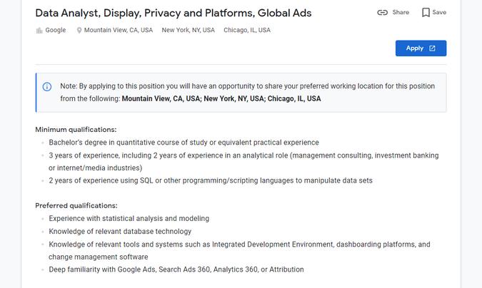 Google Data Analyst