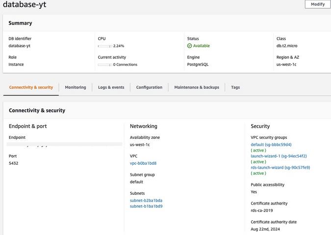 Creating database on AWS