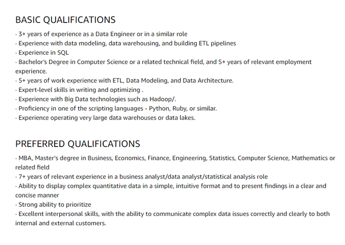 Qualifications for Data Engineer