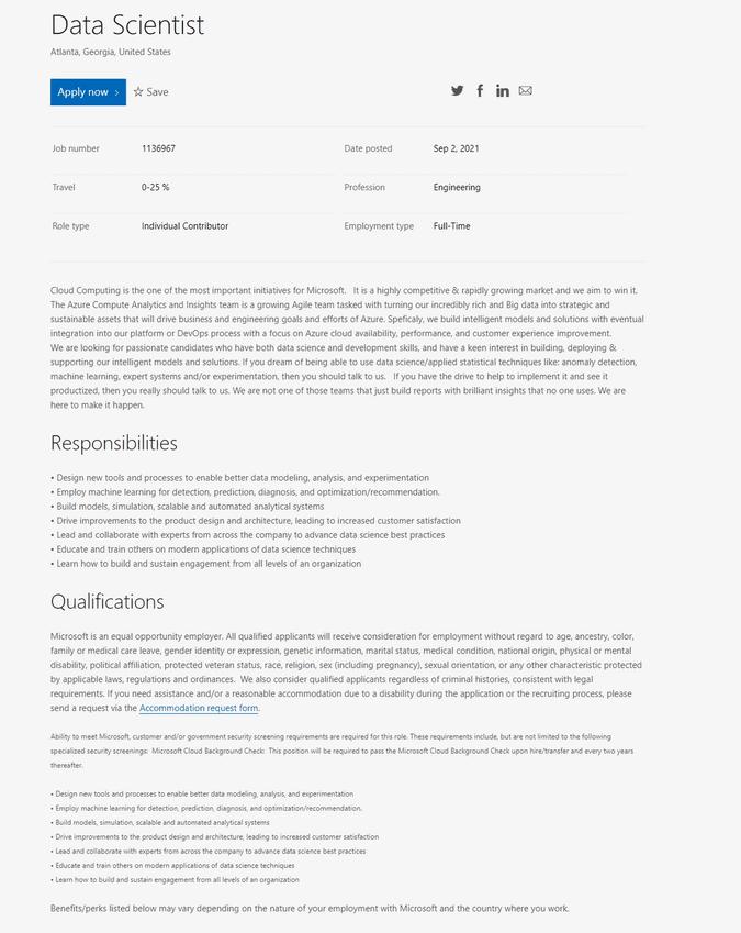 Data Scientist Position at Microsoft