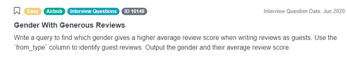 Airbnb Data Scientist Interview Question for Gender With Generous Reviews