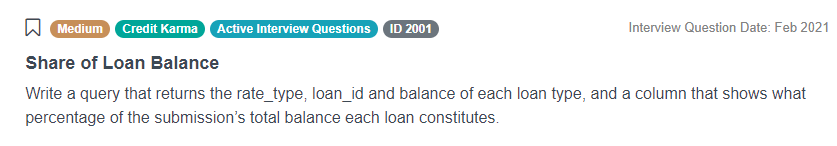 Python Interview Questions for Share of Loan Balance