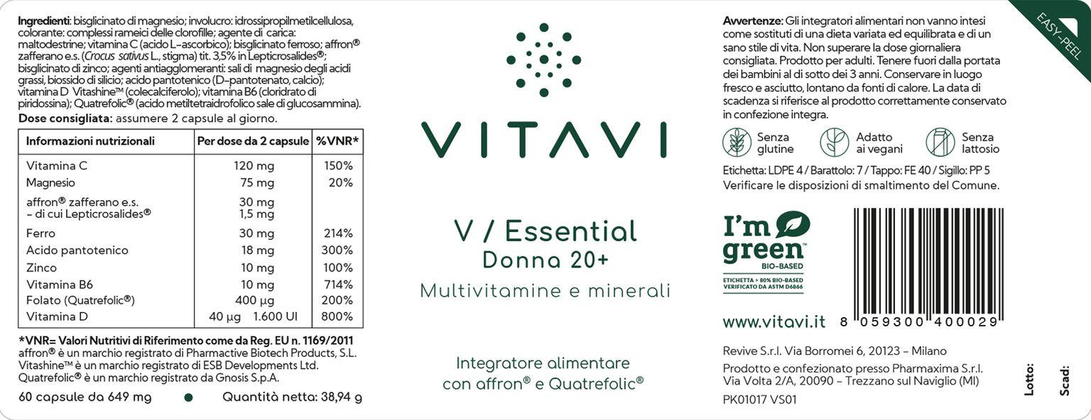 etichetta integratore alimentare V / Essential Donna 20+ VitaVi
