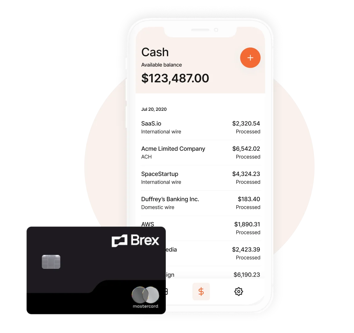 mobile transactions ui with card