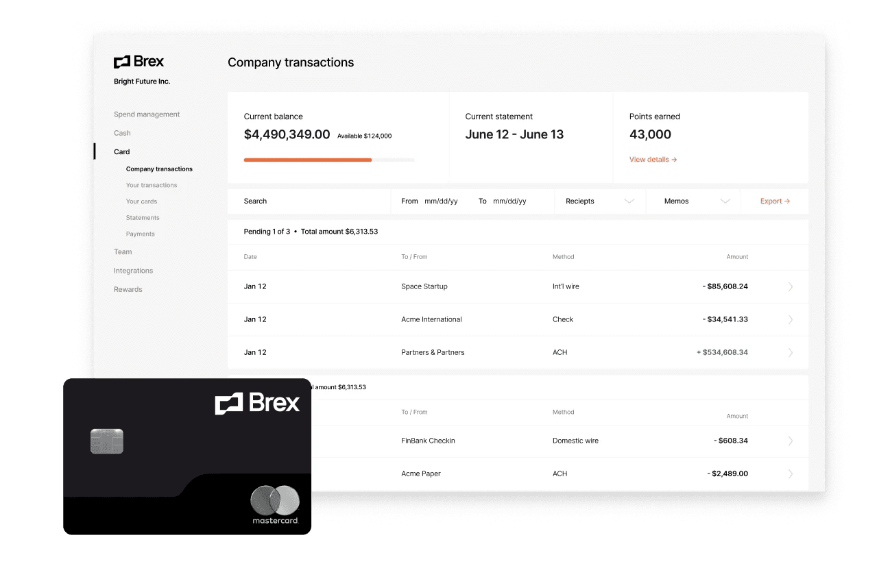 Brex card and cash transactions in dashboard