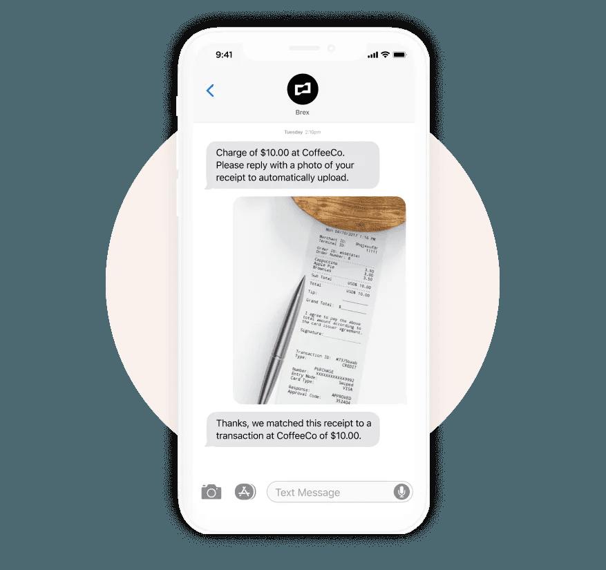 Brex spend management receipt upload via sms