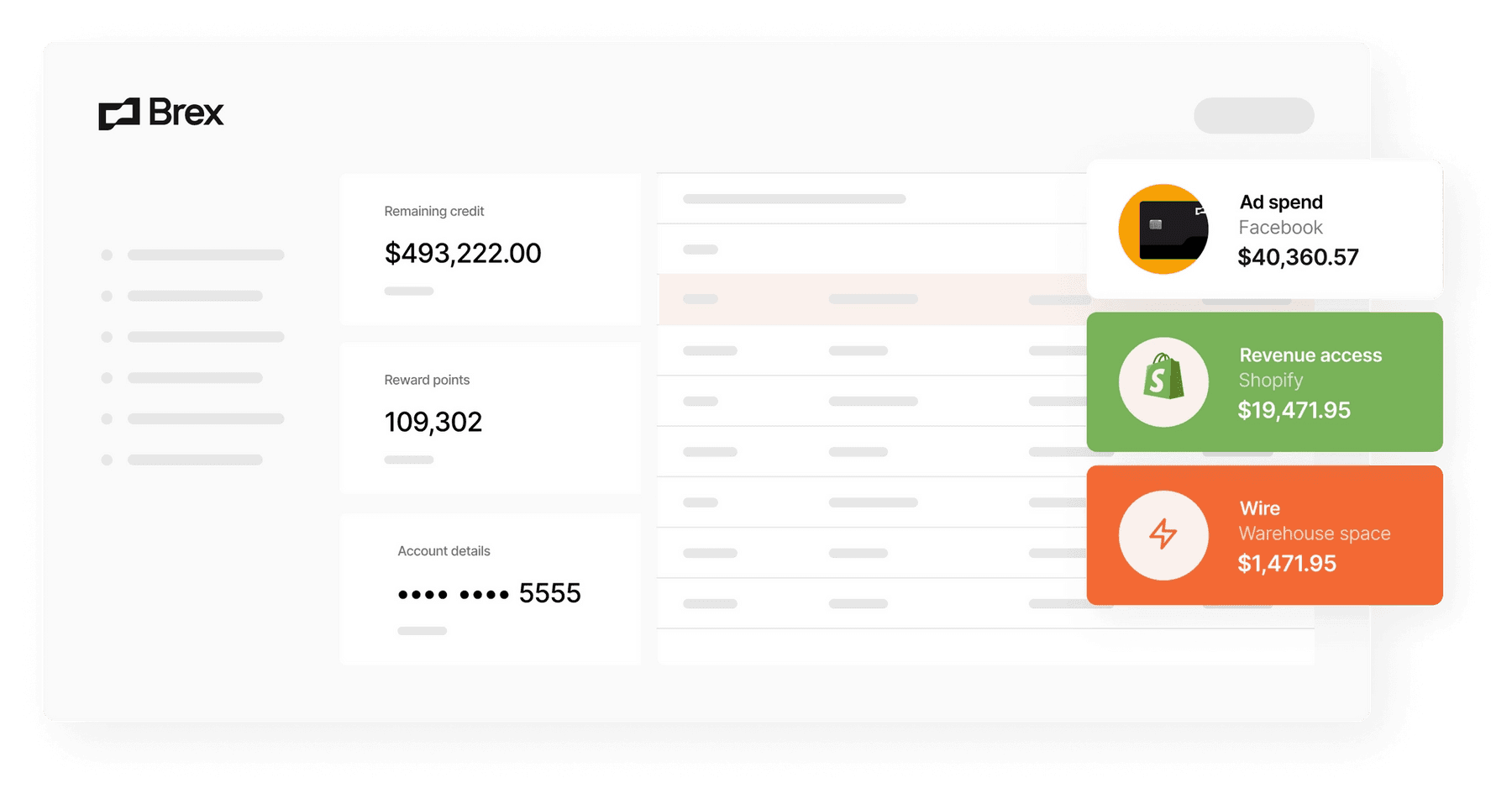 Brex dashboard for ecommerce customers