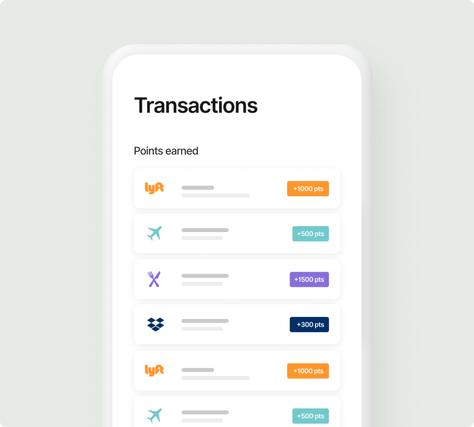 Transactions on the app