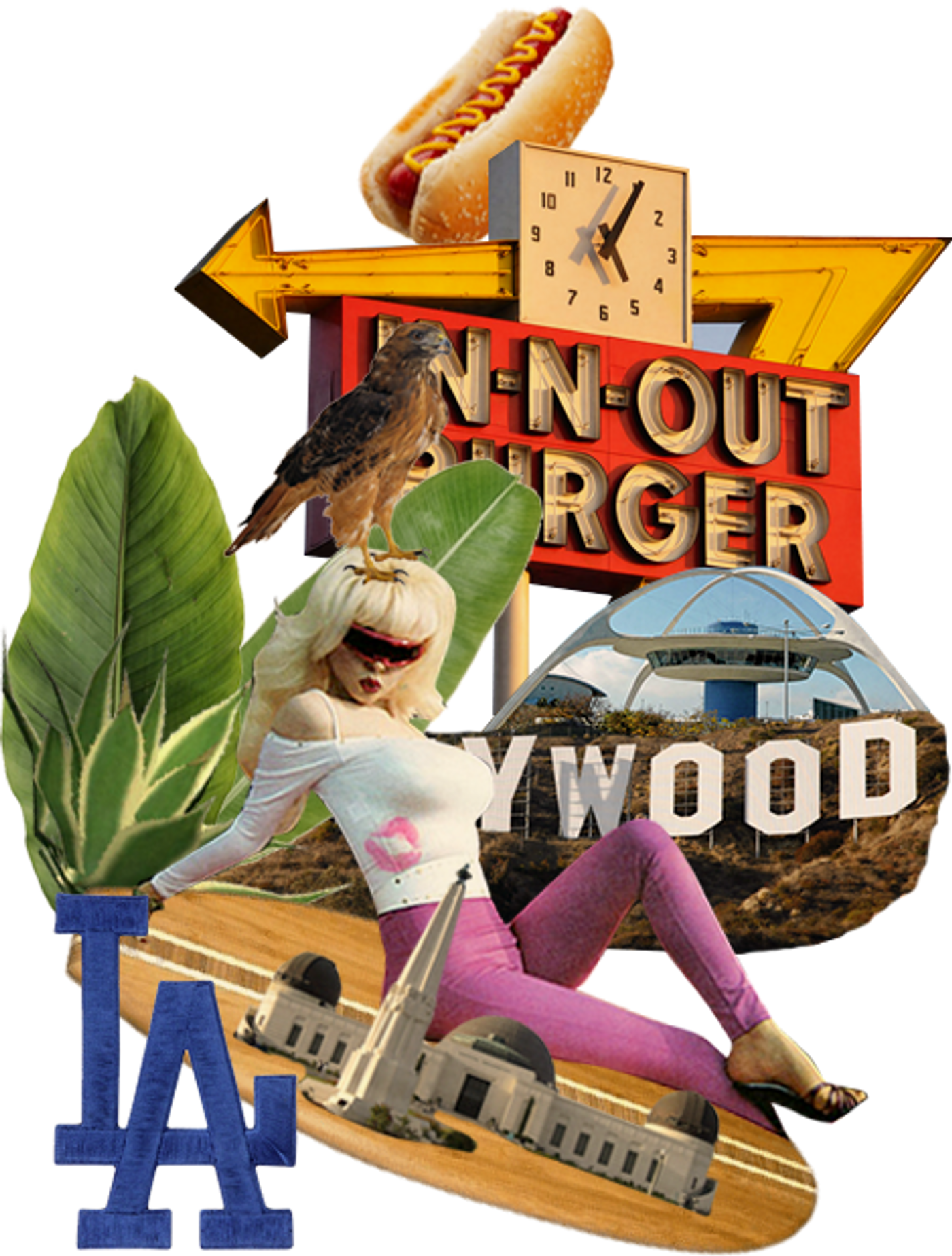 Collage of Los Angeles with surf board and hollywood sign.