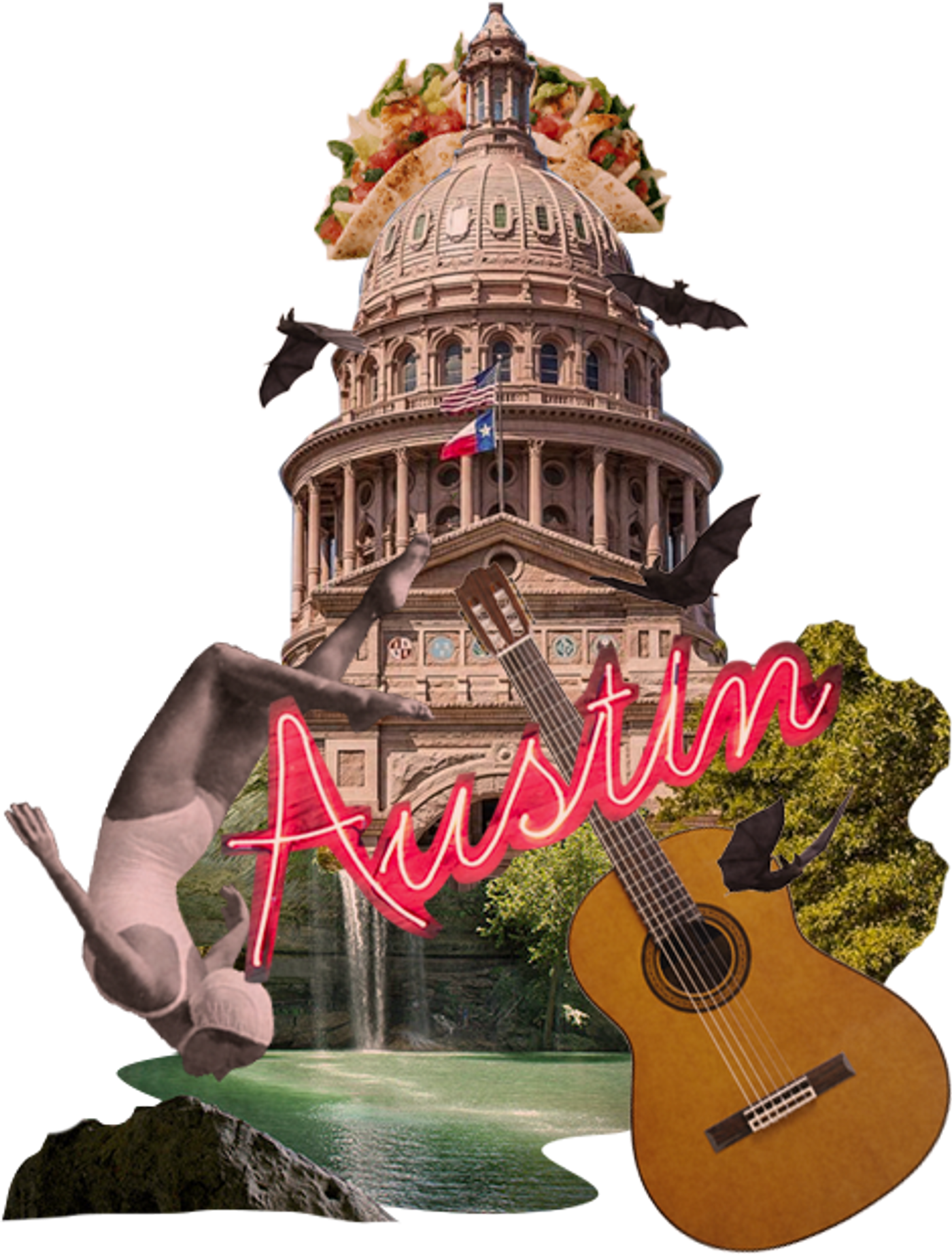 Collage of the city of Austin with guitar and waterfall.