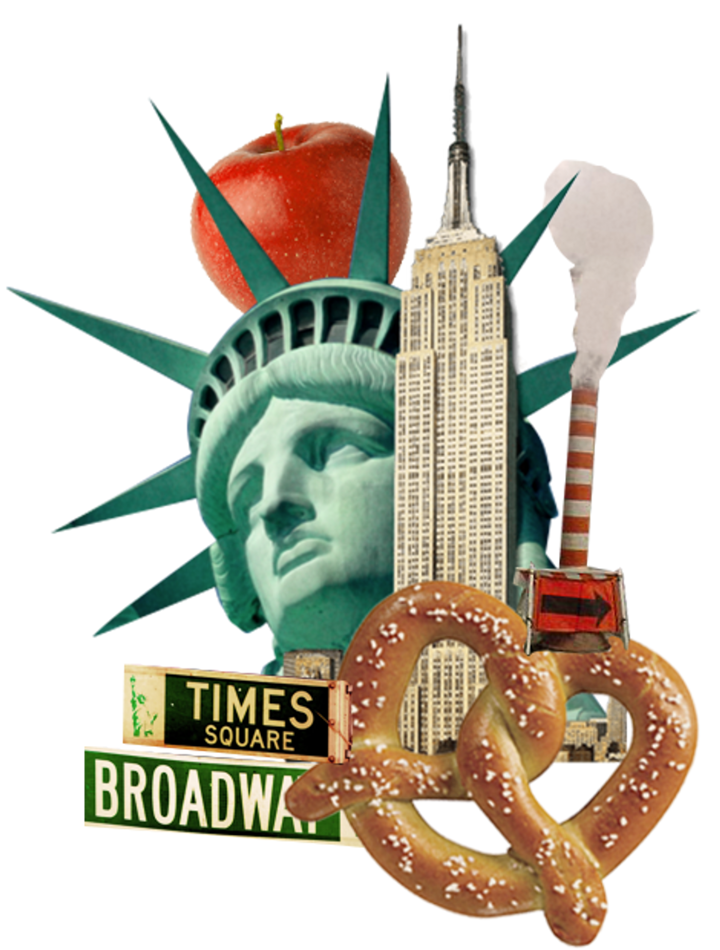 Collage of New York City with Statue of Liberty and pretzel.