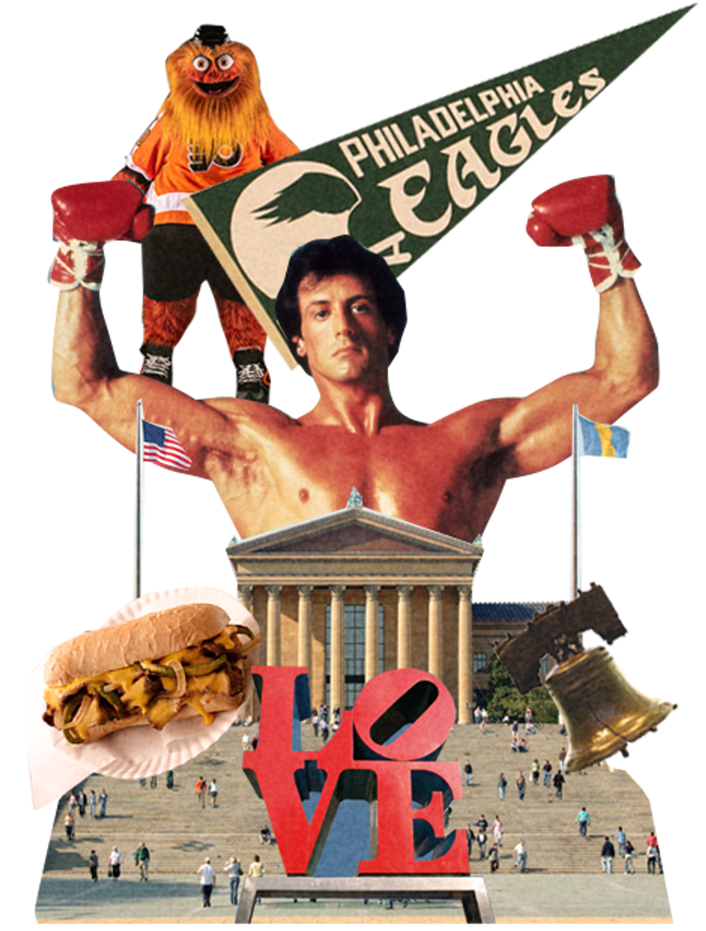 Collage of Philadelphia with cheese steak sandwich and liberty bell.