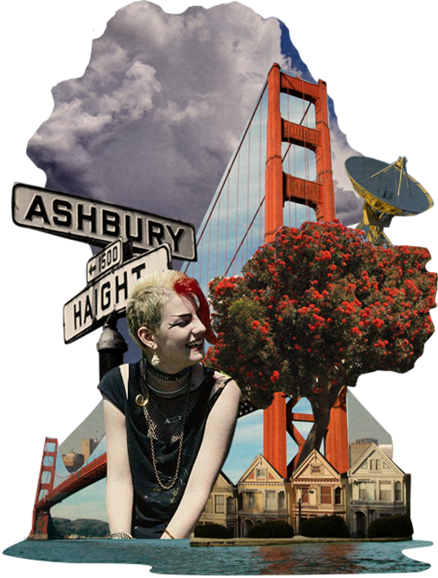 Collage of San Francisco with Golden Gate Bridge and punk rocker.
