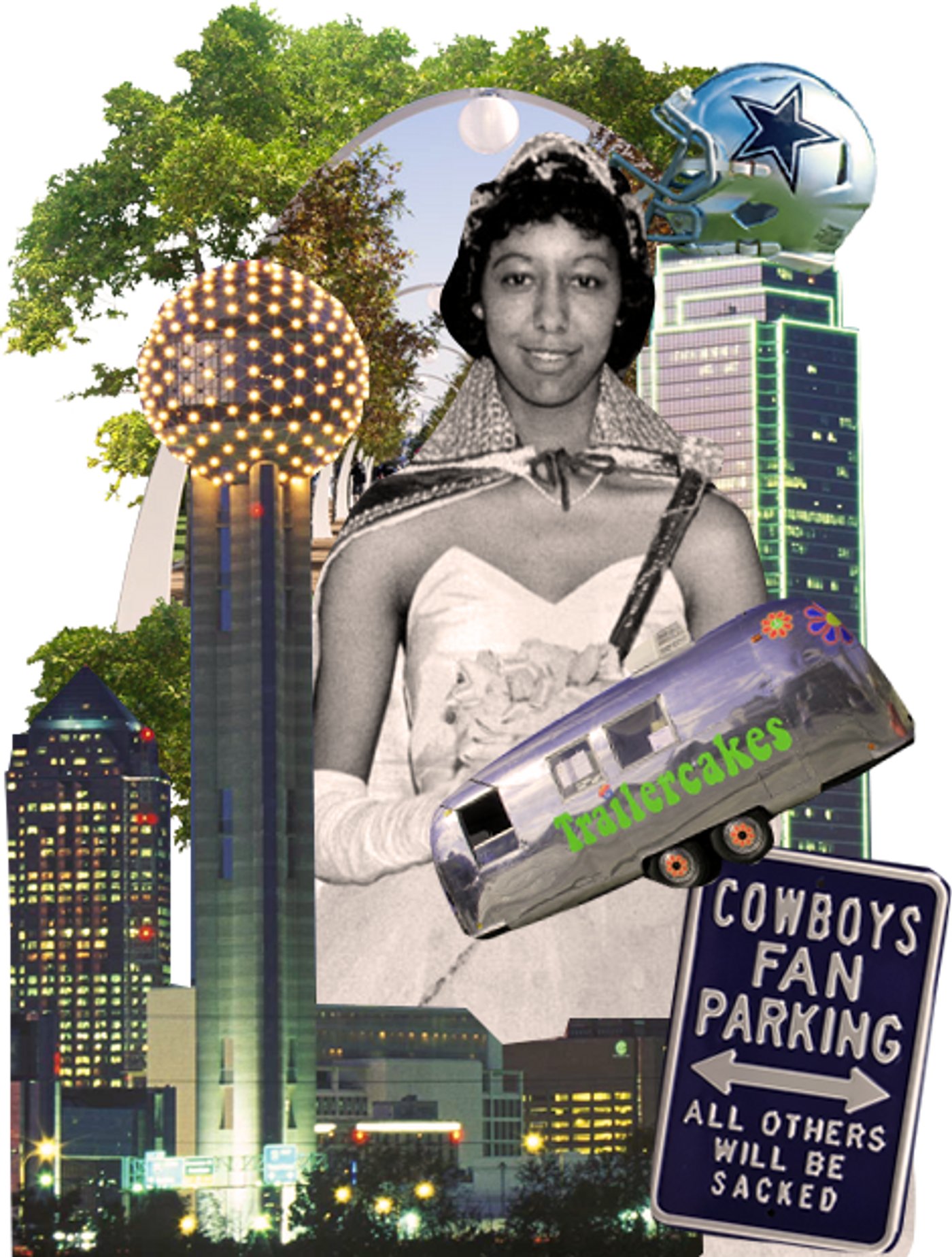Collage of the city of Dallas with skyline and football helmet.