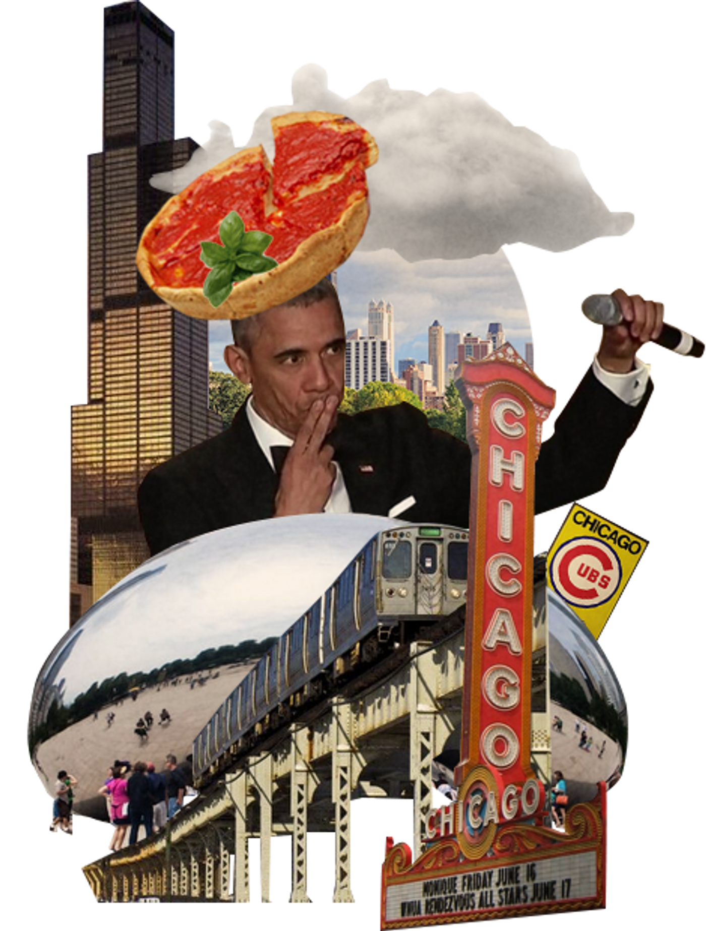 Collage of the city of Chicago with deep dish pizza and Obama.