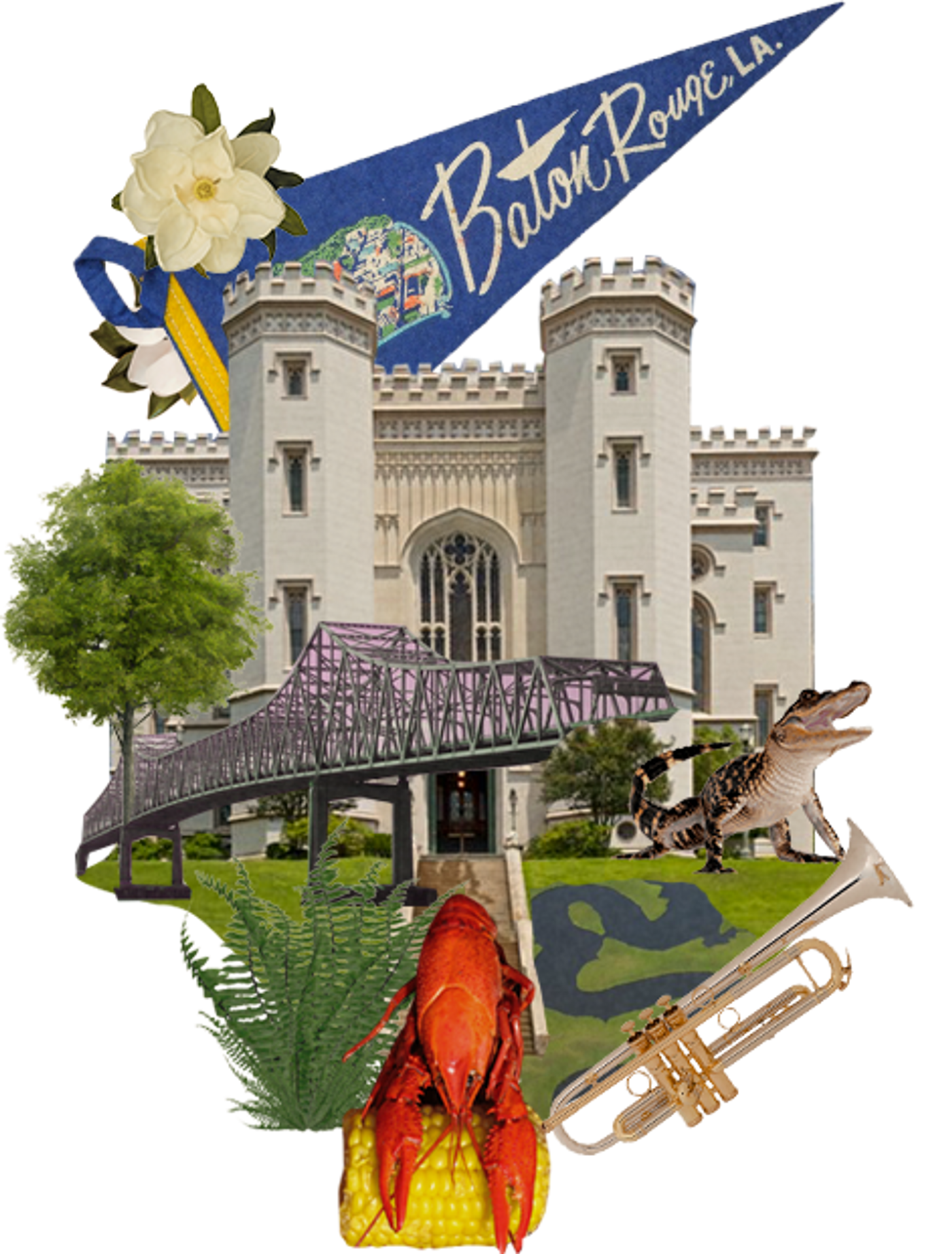 Collage of the city of Baton Rouge with crawfish and alligator.