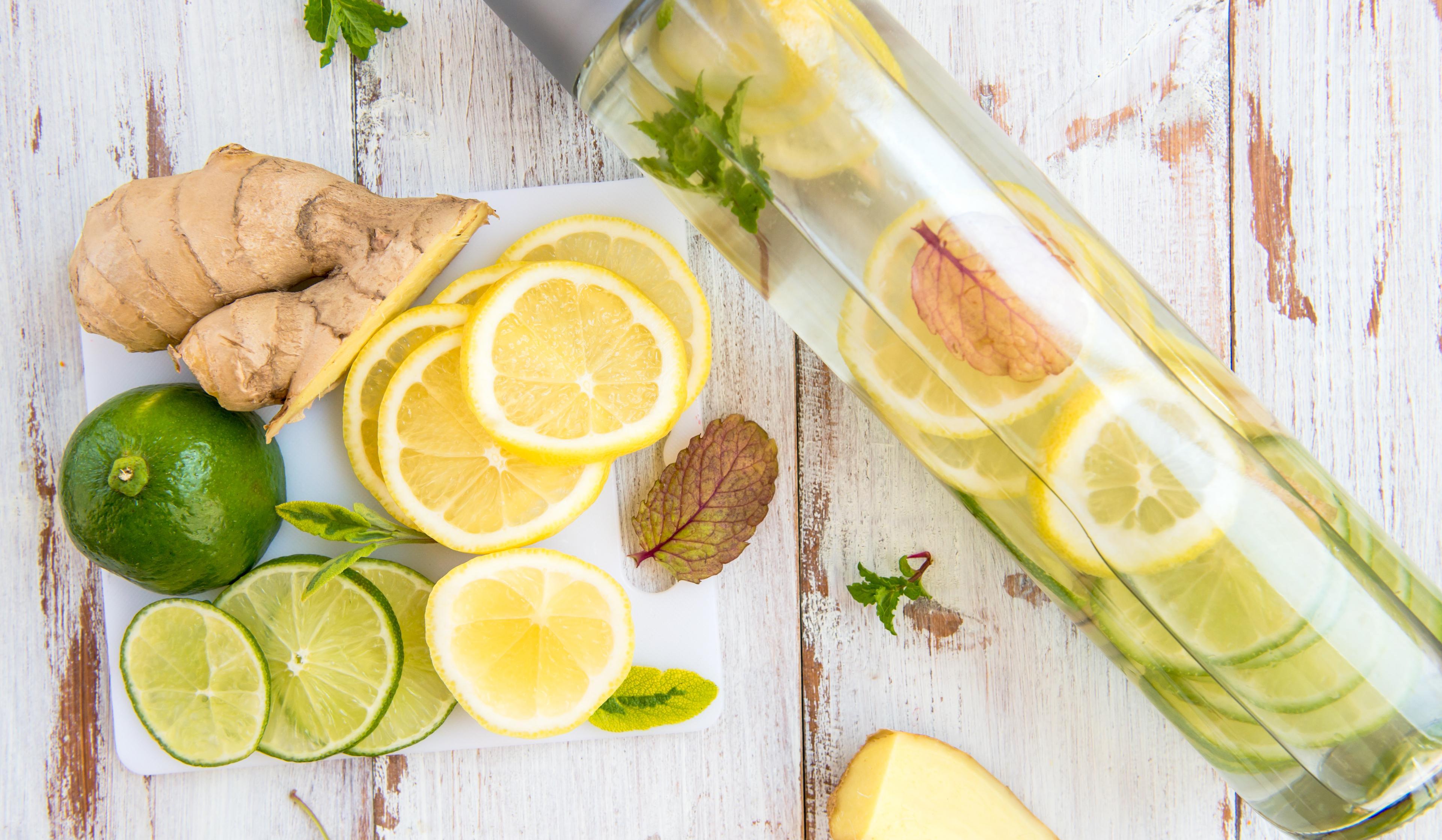 Eau aromatisée citron vert et gingembre