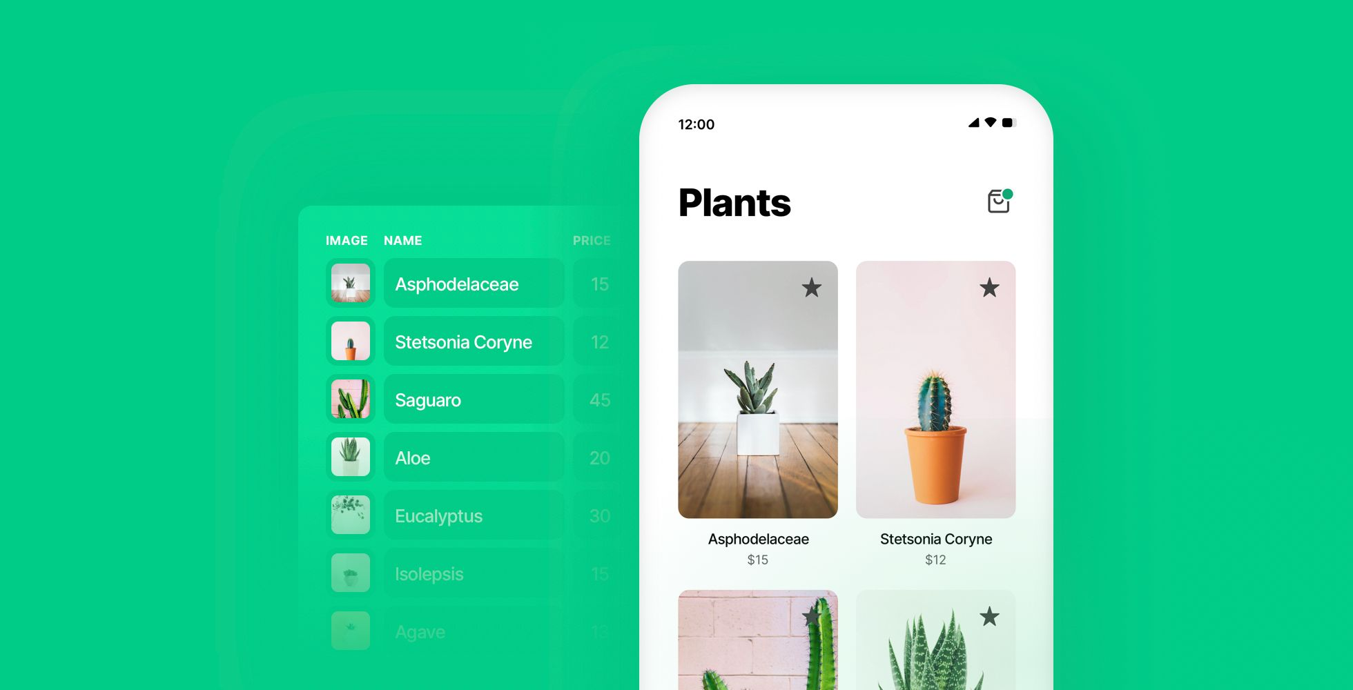 A plant webshop example powered by real data.