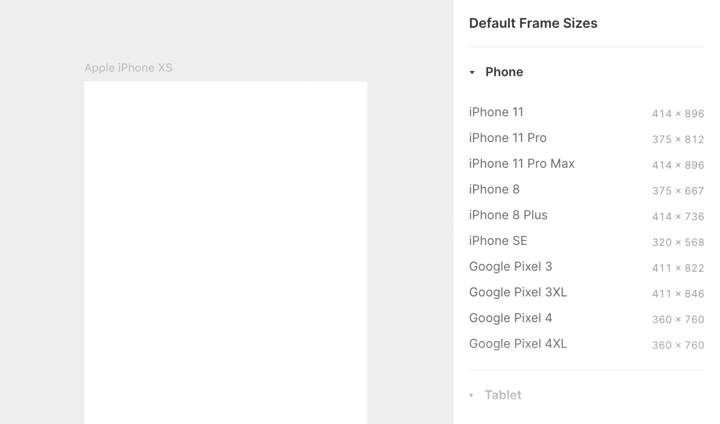 Framer offers many default Screen sizes on the right-hand properties panel