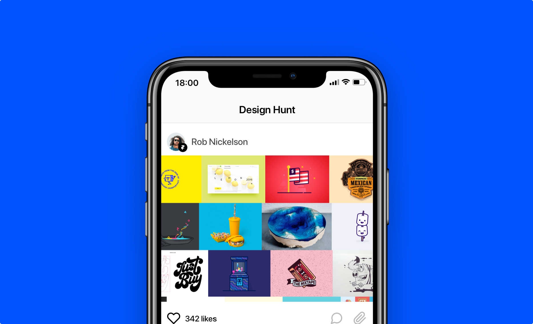 Shows a design hunt example used in Framer.