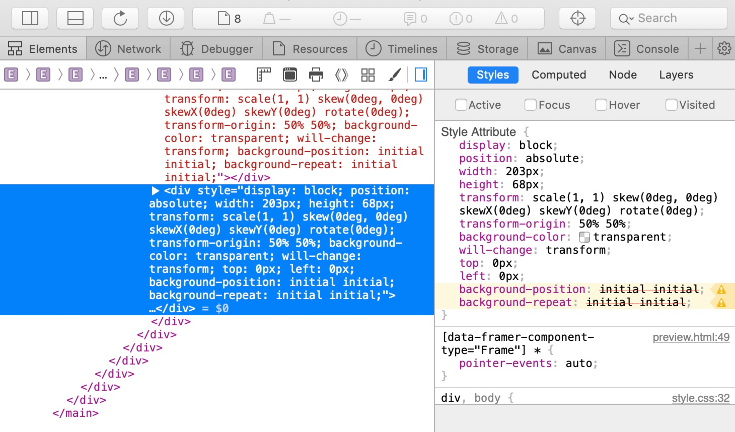 Inspecting your project with the Web Inspector