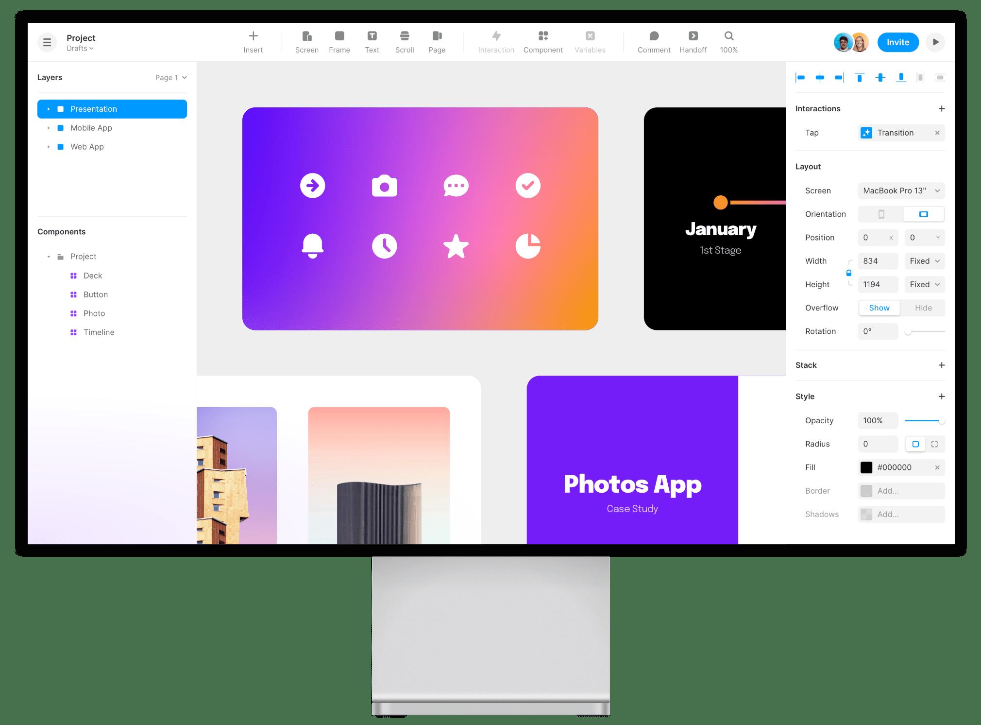 Desktop screen showing graphic design software
