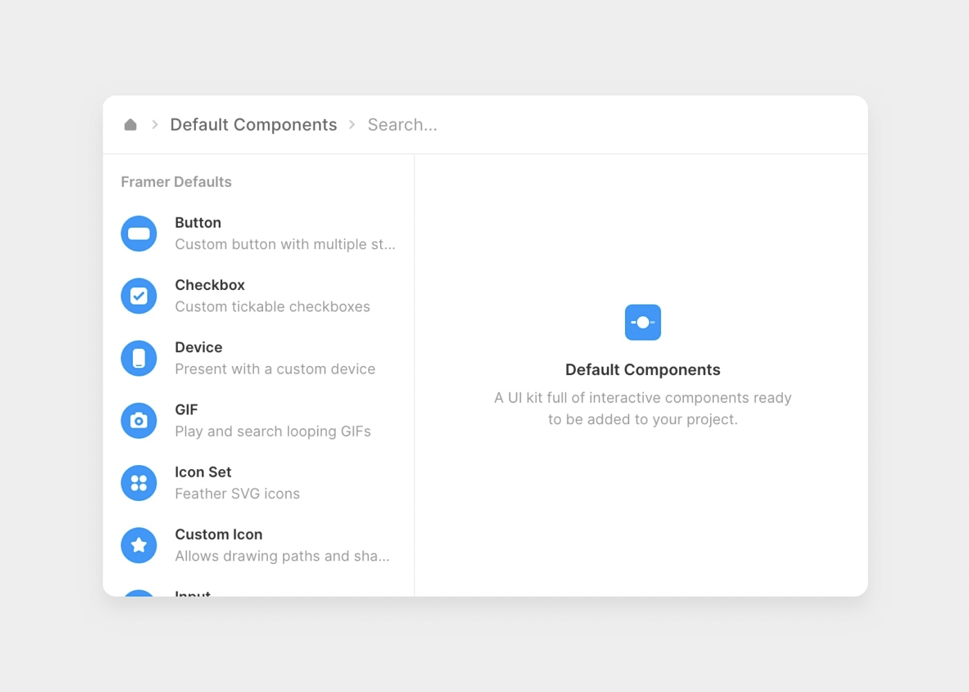 Default components within the insert menu