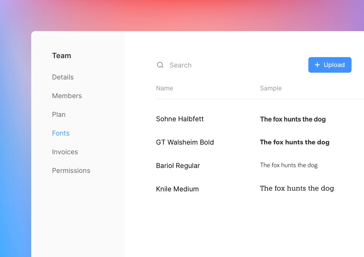 Team fonts appear in Team settings