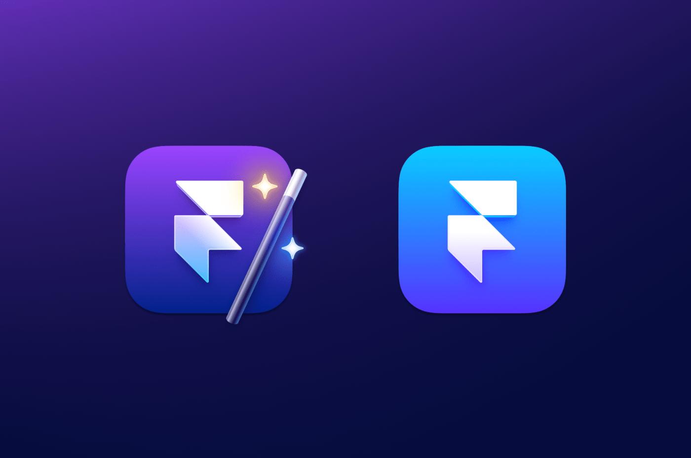 Framer app icon right, Deprecated Framer Desktop icon left