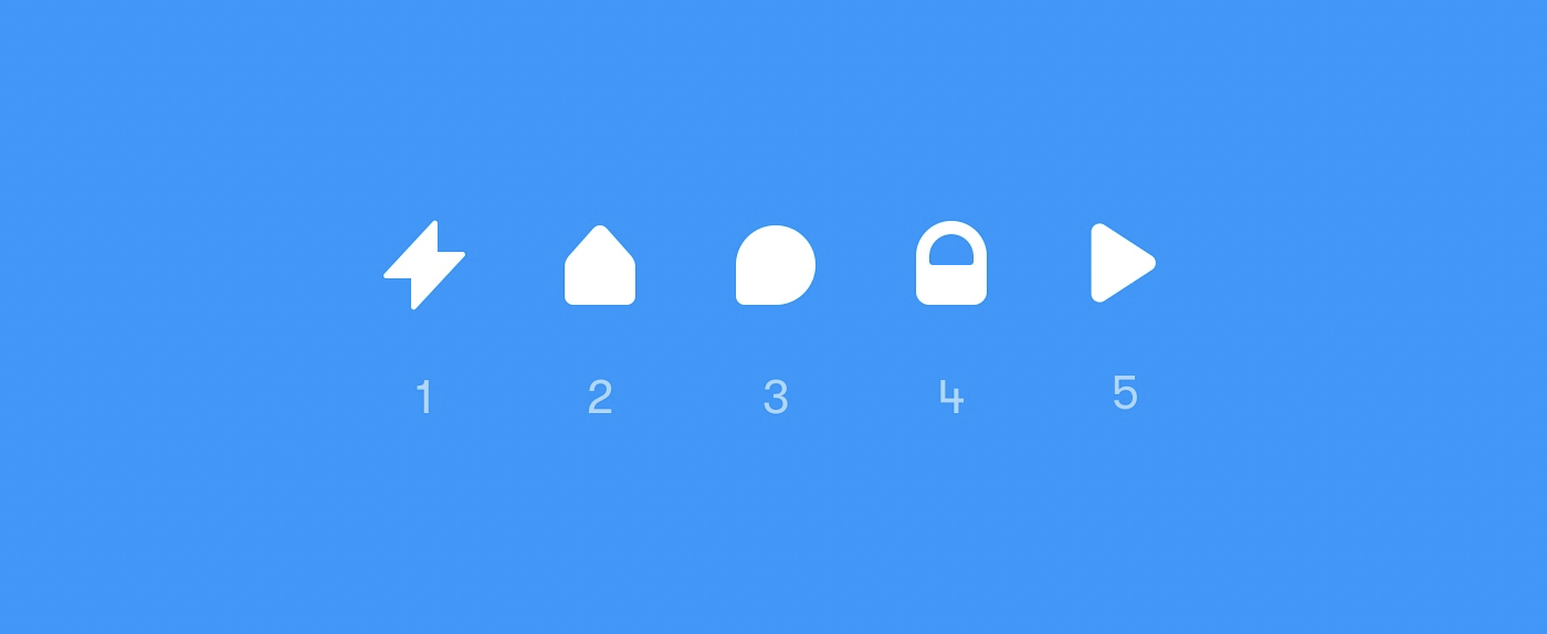 Five different icons on a Layer: Interaction, Home, Comment, Lock and Preview